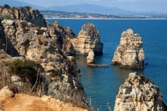 A rock formation beach in the Algarve, Portugal.